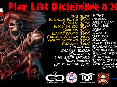 Play list Estación Rock vie 4 dic 2020 (Play list Rock Station Fri 4 Dec 2020)