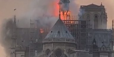 Massive Fire Ravages Medieval Paris Cathedral Notre-Dame