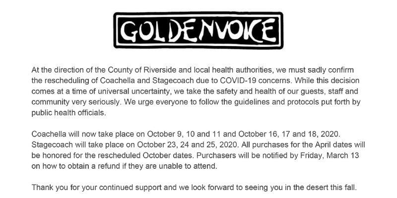 COACHELLA Rescheduled Over Coronavirus