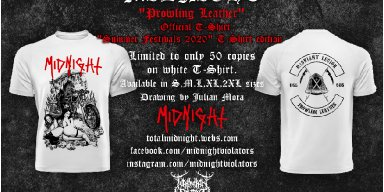 "OUT NOW : MIDNIGHT (Usa) ""Prowling Leather"" Official T-Shirt (white edition)"
