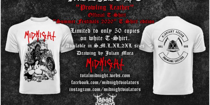 """OUT NOW : MIDNIGHT (Usa) """"Prowling Leather"""" Official T-Shirt (white edition)"""