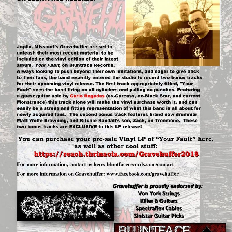 Pre-order the new Gravehuffer album 'Your Fault' on vinyl through Bluntface Records!